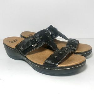 Clarks US 10M Black Leather Slide Sandals